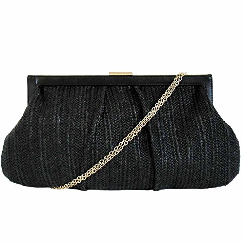 Straw JNB Oversize Women's Black Solid Clutch SnABU6qOA