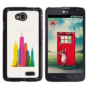 MobileHut / LG Optimus L70 / LS620 / D325 / MS323 / City Colorful Art Skyscrapers Poly Art / Delgado Negro Plástico caso cubierta Shell Armor Funda Case Cover