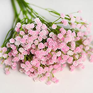 WSERE 2 Bouquet Babys Breath Artificial Flowers Faux Plants Lifelike Fadeless Fake Flower Plant Indoor Outdoor Decor,UV Resistant 77