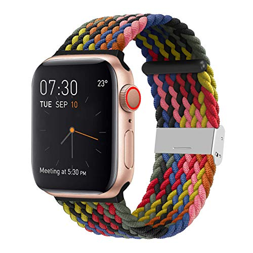 SIXRARI Braided Solo Band Compatible with Apple Watch 38mm 40mm 42mm 44mm, Soft Stretch Loop with Adjustable Buckle Sport Elastics Strap Replacement Compatible with iWatch Series SE 6/5/4/3/2/1