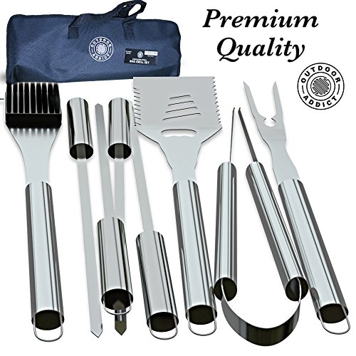 Outdoor Addict BBQ Grill Tool Set - 8-Piece Kit | Heavy Duty Stainless Steel Barbecue Grilling Utensils | Grill Brush, Skewers, Spatula, Fork, Tong | Premium Quality Grilling (8 Piece Grill Set)