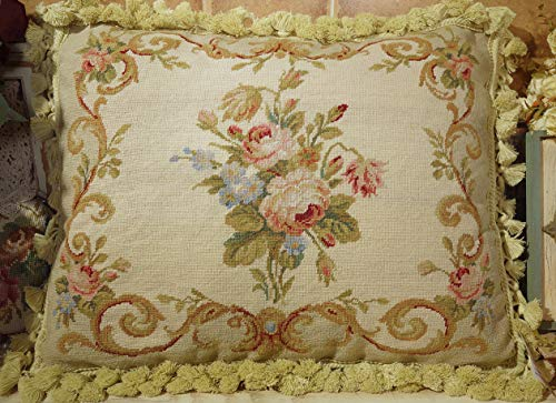 "Fine Home Crafts 20"" Beautiful Victorian Antique Rose Scroll Hand Stitched Needlepoint Pillow Cover"
