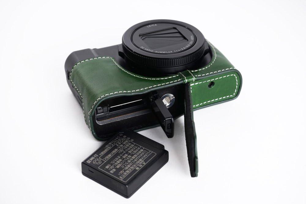 BolinUS Handmade Genuine Real Leather Half Camera Case bag Cover for Panasonic Lumix DMC-LX9 Bottom Opening Version DMC-LX9 Case Blue