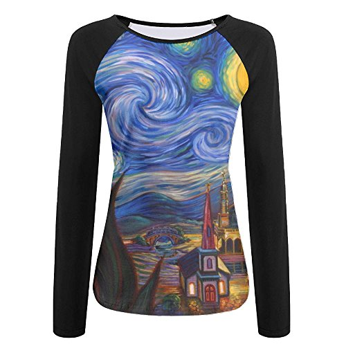 Women's Starry Night Ties Art Vincent Van Gogh Casual Crew-Neck T-Shirt With Long Sleeves (Face Neck Vans)