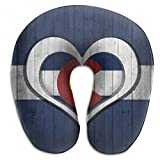 Raglan Carnegie Colorado Flag Heart and Wood Background Neck Head Support Travel Rest U Shaped Pillow for Airplane Train Car Bus Office