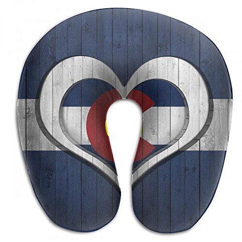 Raglan Carnegie Colorado Flag Heart and Wood Background Neck Head Support Travel Rest U Shaped Pillow for Airplane Train Car Bus Office by Raglan Carnegie (Image #1)