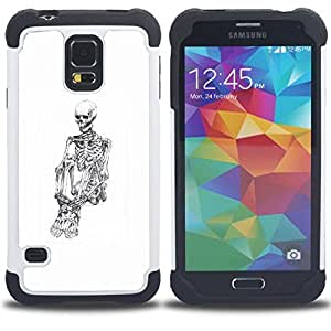 BullDog Case - FOR/Samsung Galaxy S5 I9600 G9009 G9008V / - / WHITE SKULL SKELETON DEPRESSED BLACK /- H??brido Heavy Duty caja del tel??fono protector din??mico - silicona suave