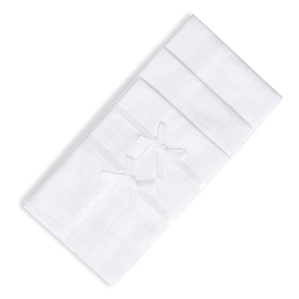 "JJPRIME 100/% Cotton 12Pcs Bakers Dozen Mens Handkerchief Pure White Hankies 16/"""
