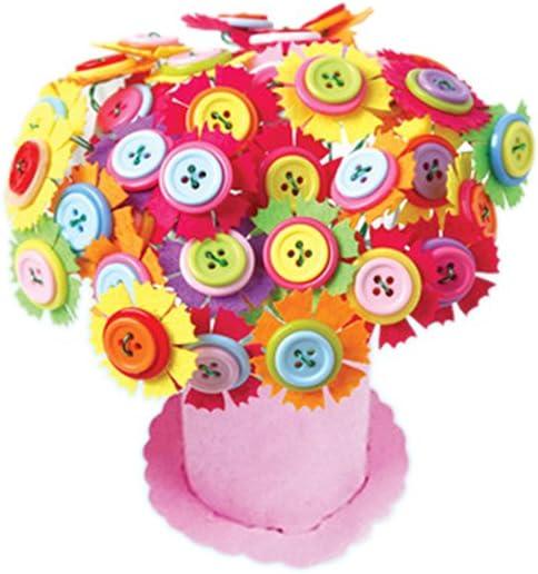 8-Petal Flowers Tuliptown Mart Creative Button Flowers,DIY Craft Iron Wire Button Felt Bouquets Kit Make 40 Flowers