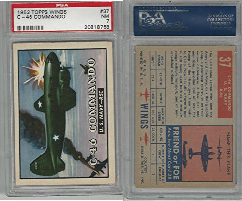 1952 Topps, Wings, #37 C-46 Commando, US Navy, PSA 7 NM