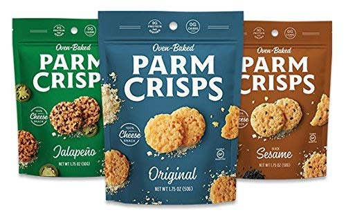 ParmCrisps, Made From 100% Real Parmesan Cheese, Gluten Free, Sugar Free, Keto Friendly, 3 Flavor Variety Pack, 1.75oz Bags (Pack of 24)