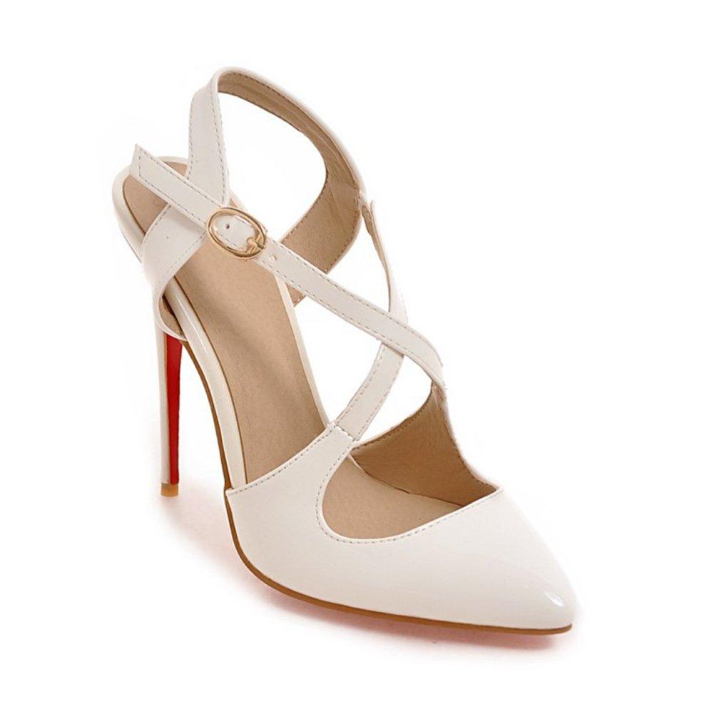 CAI Femmes Chaussures PU Printemps Été Confort Nouveauté Talons Talon Stiletto Dames Bout Pointu Pour Noce et Soirée Blanc, Noir, Beige (Couleur : Noir, Taille : 46)