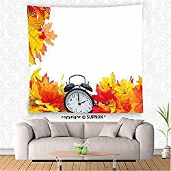 VROSELV custom tapestry Clock Decor Tapestry Autumn Leaves and an Alarm Clock Fall Season Theme Romantic Digital Print Wall Hanging for Bedroom Living Room Dorm White and Orange