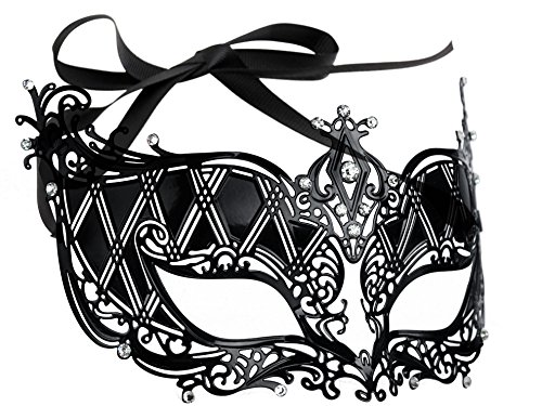 [Luxurious Venetian Masquerade Filigree Mask - Malleable Laser-cut Metal With Rhinestones - Regal/Royalty Series Filigree Pattern 5 - For Masquerade Ball, Mardi Gras, Halloween Costume Party, New Year's Party, Carnivals and] (Black Masquerade Dress)