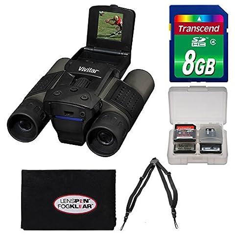Vivitar 12x25 Binoculars with Built-in Digital Camera with 8GB Card + Harness + Accessory Kit (Binocular Vivitar)