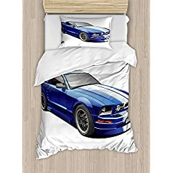 Ambesonne Teen Room Duvet Cover Set Twin Size, American Auto Racing Theme Car Sports Competition Speed Winner Boys Kids Graphic, Decorative 2 Piece Bedding Set with 1 Pillow Sham, Blue Grey