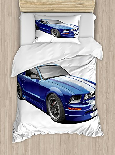 Ambesonne Teen room or space Duvet Cover Set Twin Size, American Auto Racing Theme family members car Sports Competition swiftness Winner Boys Kids Graphic, Decorative 2 Piece Bedding Set by wil of  1 Pillow Sham, Blue Grey