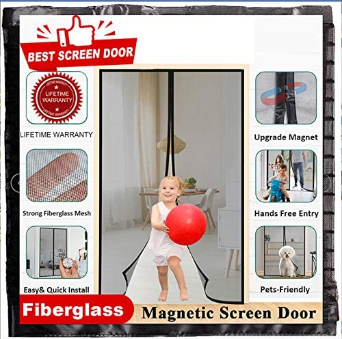 Magnetic Screen Door 72 x 80 Double Door Screen Curtain for Sliding Door Fit Doors Size Up to 72W x 80H Max Keep Fly Bug Out