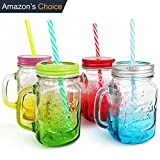 Top Mason Jar | 4 Pcs 15 Oz | Gorgeous Old Fashioned Drinking Mug Jar Set with Glass Handle Colorful Stainless Steel Twist Lid and Reusable Striped Straw | Awesomely Durable and Non Toxic | 1271 Review