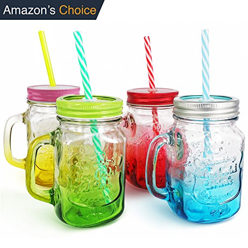 Top Mason Jar | 4 Pcs 15 Oz | Gorgeous Old Fashioned Drinking Mug Jar Set with Glass Handle Colorful Stainless Steel Twist Lid and Reusable Striped Straw | Awesomely Durable and Non Toxic | 1271