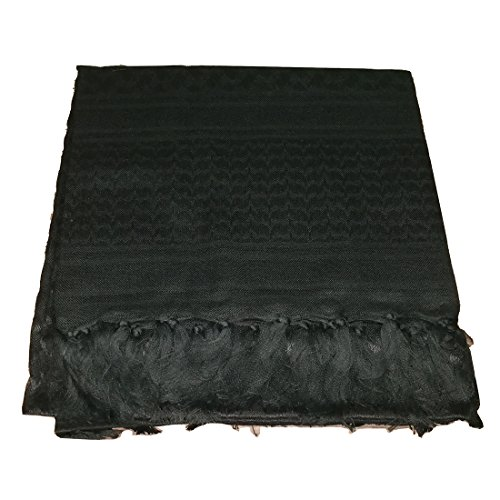 100% Cotton Tactical Shemagh Military Desert Arab Keffiyeh Shawl Head Neck Scarf Wrap For Men Women (Black) by Noorcamp