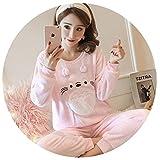 Pajamas Women Warm Flannel Thickening Pijama Pattern Pajamas Set Ladies Pyjamas Sleepwear Top +Pant Sets