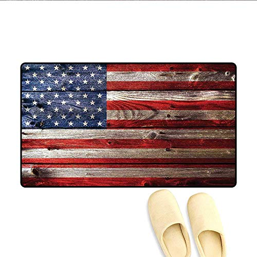 - Bath Mat Fourth of July Independence Day Weathered Retro Wood Wall Looking Country Emblem Door Mats for Inside Bathroom Mat Non Slip Backing 20