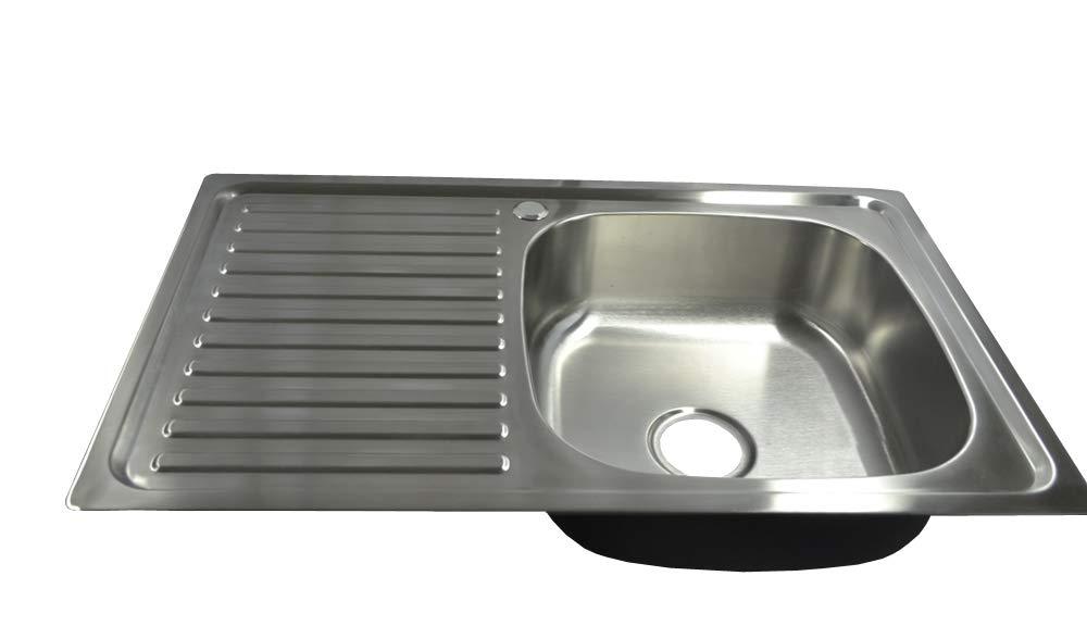 /évier inox 1 Bac en acier inoxydable 304 /Évier de cuisine encastrable en acier avec /égouttoir 80cm x 50cm