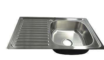 1 x lavello da cucina da incasso in acciaio inox con ripiano e scarico 80  cm L 50 cm B