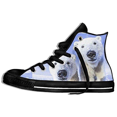 Classic High Top Sneakers Canvas Zapatos Antideslizante Polar Bear Casual Walking Para Hombres Mujeres Negro