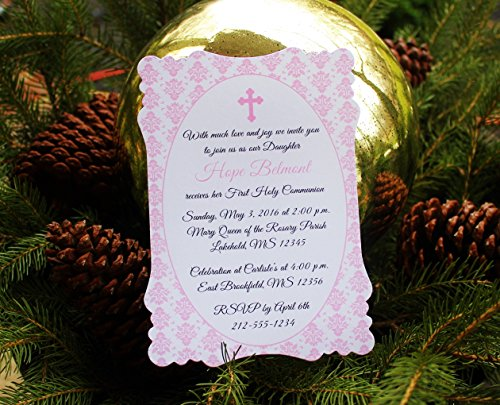 Set of 10 Pink Damask Baptism, Communion or Confirmation Party Invitations - All Wording ()