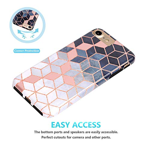 JAHOLAN Bright Rose Gold Cube Design Black Bumper Glossy TPU Soft Rubber Silicone Cover Phone Case Compatible with…