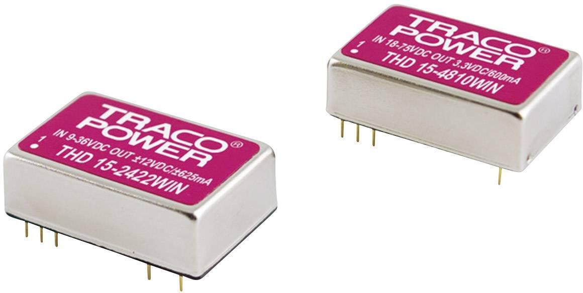Converdeisseur DC DC pour circuits imprimés TracoPower THD 15-2413WIN 24 V DC 15 V DC 1 A 15 W Nombre de sorties  1 x 1 p