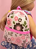 Pink Flower Print Backpack Fit 18