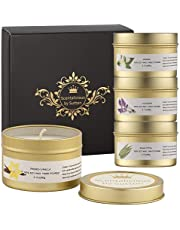 Scentalicious Scented Candles Gift Set, Pure Soy Wax & Essential Oils - Jasmine, Lavender, Eucalyptus, French Vanilla - Aromatherapy Candles, Valentines, Birthday, Diwali