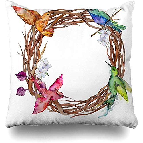 Throw Pillow Cover Cushion Case Freedom Watercolor Border Sky Bird Colibri by 4978 Corner Drawing Drawn Feather Flight Design Wings Home Decor Square 18x18 Inches