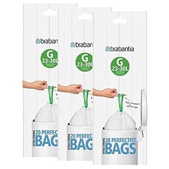 Brabantia Bolsas de basura (30 L, tamaño G), 3 unidades