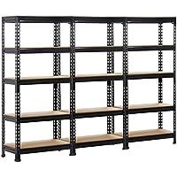 Yaheetech 3x 5-Tier Garage Shelving Unit Warehouse Rack Storage Heavy Duty Steel