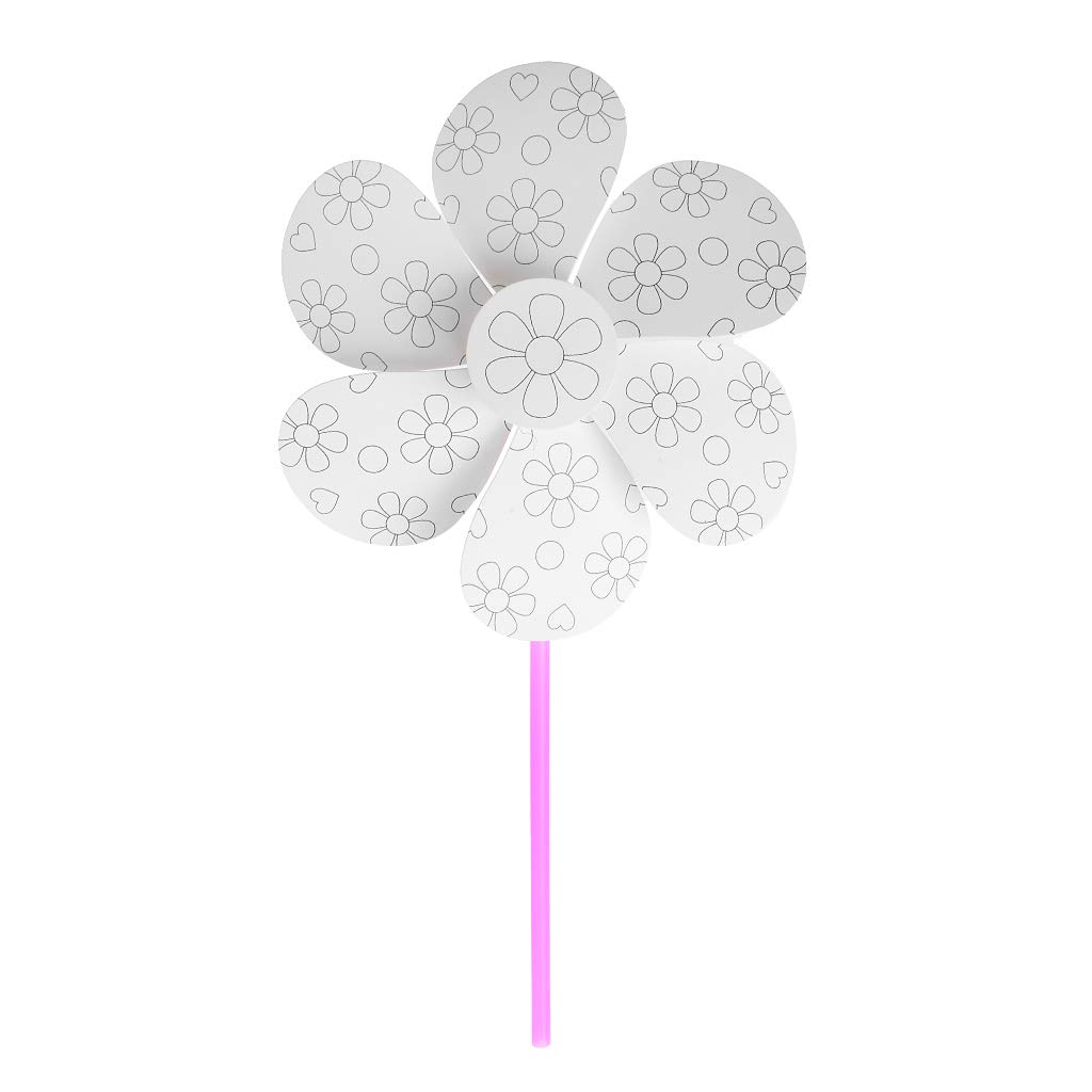 SimpleLif Windmill Children Toy,Blank White Paper Pinwheel Crafts DIY Drawing Material Kid Educational Accessories Gift