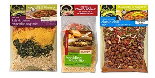 Frontier Soups 100% Natural Soup Mix 3 Flavor Variety Bundle, (1) each: West Coast Kale Quinoa Vegetable, Montana Classic Chili, Little Italy Wedding (4.25-9 ()