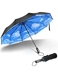 FYLINA 10-Rid Travel Umbrella Windproof with 210T Fabric Teflon Compact Umbrella for Men & Women Automatic Open Close Easy Touch Golf umbrella-46inch Black