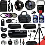 Mega Pro 34 Piece Accessory Kit for Nikon D600 DSLR Camera Includes High Definition 2X Telephoto Lens + High Definition Wide Angle Lens + Multi Power Battery Grip + 2 High Capacity EN-EL15 ENEL15 Batteries with Quick AC/DC Charger + External Flash + 32GB
