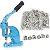 ARKSEN© Eyelet Maker Hand Press Grommet Machine w/ 1500 Stainless Grommets 3 Die #0 #2 #4, Blue