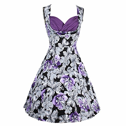 Samtree Women's Vintage 1950s Audrey Hepburn V Neck Floral Party Cocktail Swing Dress(S(2),Style 2-Purple) (Shaped Heart Cut Dress Out)