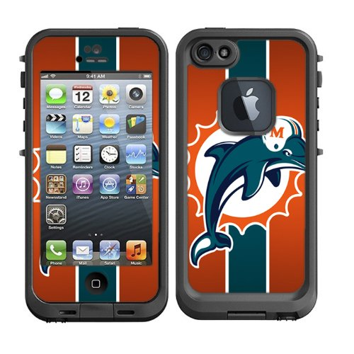 Skins Kit for Lifeproof iPhone 5 Case (skins/decals only) - Miami Dolphins Football