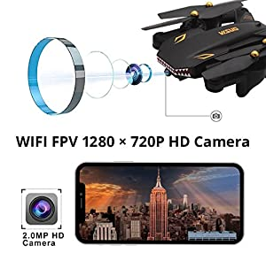 Drone with Camera Live Video, Teeggi VISUO XS809S WiFi FPV RC Qudcopter with 720P HD Camera Foldable Drone for Beginners - Altitude Hold Headless Mode One Key Off/Landing APP Control Long Flight Time by Teeggi