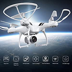 KUSOII Drone with Camera Live Video for Kids Beginners 20 Minutes Flying Time FHD 1080p 110° Wide Angle Len Camera VR Quadcopter Toy with Mobile Control Altitude Hold White