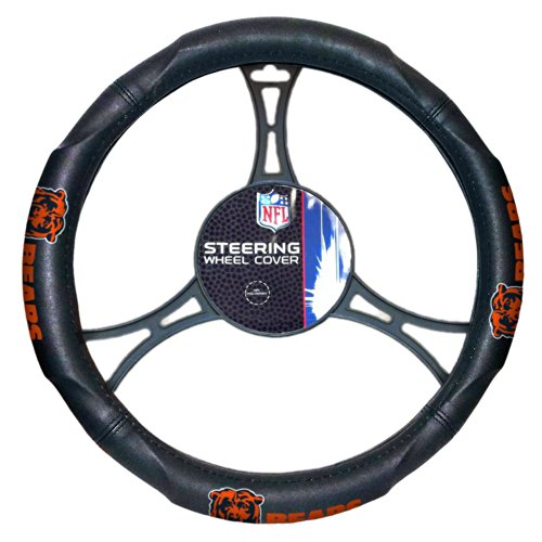 Officially Licensed NFL Steering Wheel Chicago Bears Black Leather