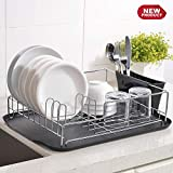 Cotulin Beautiful Partical Steel Easy Cleaning Kitchen Dish Drying Rack, Dish Rack With Chrome Finish Steel Frame, Antimicrobial Black Plastic