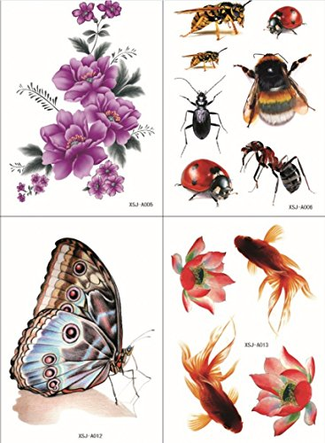 Wonbeauty with fashionable design4pcs in one package,it including 4pcs colorful purple flowers,lotus,butterfly,fishes,beetles and insects fake realistic tattoo (Purple Butterfly Tattoo)